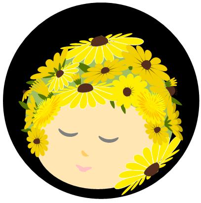 ワードアート[黄色い花・ルドベキア]の描き方