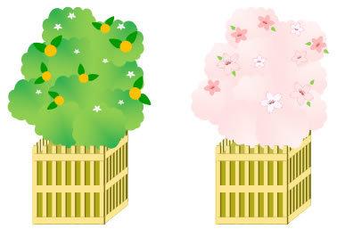 図形・ワードアート[橘と桜/雛祭り]